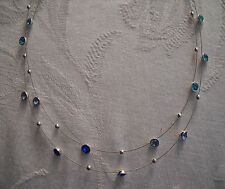 Nine West Silver Tone Double Row Blue Crystal Necklace
