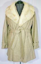 Vintage Country Pacer Coat Rabbit Fur Trim Stroller Walker Tie Waist Jacket L