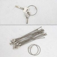 24PCS Silver Wire Key Holders Luggage Loops Stainless Steel Cable 160mm length