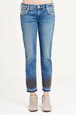 True Religion Medium Wash Cora Mid Rise Straight Crop Studded Jeans Size 25
