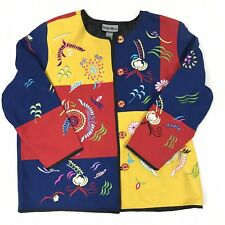 Indigo Moon 1X Colorblock Embroidered Jacket Red Blue Yellow