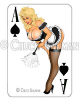 Bomber Girl FRESHLY MAID pin-up playing card decal pin-up babe sticker