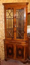 Double Door Mahogany Corner Cabinet on Stand with Inlay detailing 1960's