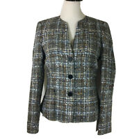 Santorelli Tweed Jacket Size 4 Blue Brown Lined Made In Italy S