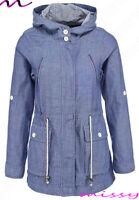 NEW Women's summer Jacket Parka Coat Blue Size 8 10 12 14 16 Casual Hooded Mac