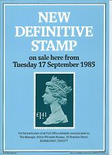 ROYAL MAIL A4 POST OFFICE POSTER GRILLE DEFINITIVE - 1985 MACHIN RATES £1.41