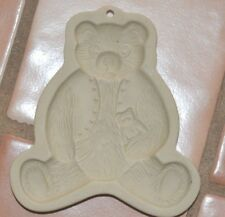 1984 TEDDY BEAR BROWN BAG COOKIE ART Stoneware COOKIE MOLD