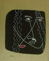 """Michael Feicht (geb. 1959): """"Lineare Komposition auf braunem Grund"""" Portrait"""