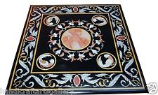 """36"""" Marble Black Square Mosaic Coffee Table Top Inlay Marquetry Decor Furniture"""