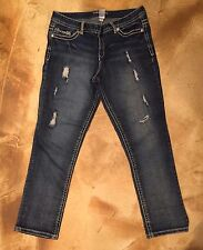 """Women's Size 9/10 MAURICES Thick Stitch Distressed Denim Jeans - 36"""" x 29"""""""