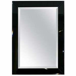 LOVELY BEVELLED EDGE MIRROR WITH BLACK GLASS BEVELLED FRAME 92 X 66.5CM VELVET