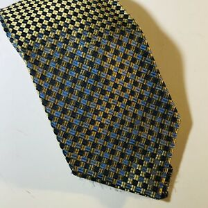 Men's Silk Necktie Handmade Blue Yellow Checks Foggia