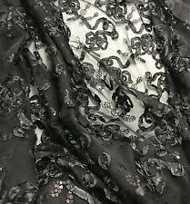 "Black Ribbon Sequin Embroidered Tulle Fabric - 54"" by the yard"