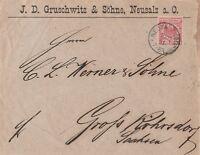 Briefumschlag Jahr 1891 verschickt von Neusalz nach Grossröhrsdorf wertvoll