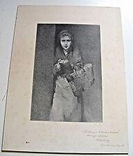 """BELLE RARE LITHOGRAPHIE """"LA MENDIANTE"""" SALON 1888 Signé ENVOI PETRUS-ARESSY"""