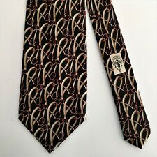 Gucci Equestrian Stirrup Tack Men's Neck Tie 100% SILK Made in Italy Black Tan