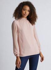 Dorothy Perkins Womens Tall Pink Shirred Blouse Long Sleeve Shirred Neck Top