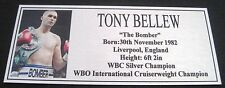 """TONY BELLEW new Boxing Champions Silver  Subimated Plaque """"FREE POSTAGE"""""""