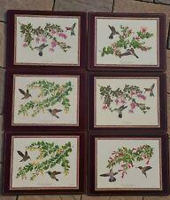 """Set 6 - Vintage Pimpernel Humming Birds Cork Placemats England 14 1/2"""" x 11 1/2"""""""