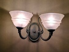 3 VINTAGE ART NOUVEAU STYLE 2 LIGHT WALL SCONCES, LIGHT FIXTURES, GOOD CONDITION