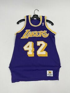 Rare Vintage Sand Knit NBA Los Angeles Lakers James Worthy Basketball Jersey
