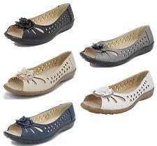 femmes coupe large doublure en cuir ouvert Bout Fleur chaussure été 3 4 5 6 7 8