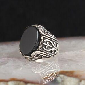 Handmade pure 925 SILVER man ring Onyx stone jewelry wedding Gift Box RRP £50