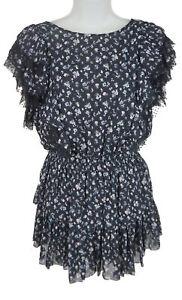 Women's Love Shack Fancy Navy Floral Cap Sleeve Mini Dress Size XS