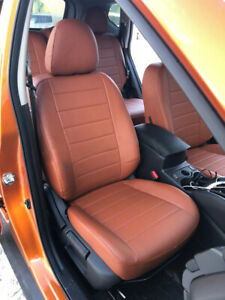 Durable Comfort Leatherette Seat Cushions Front and Rear Seats Covers Coffee with headrest and waistrest Airbag Compatible for Nissan Rogue 2008-2013 5 Car Seat Covers Luxury