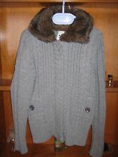 Jacke Mädchen Gr.134/140 Strick mit Webpelzkragen in grau,Reißverschluss