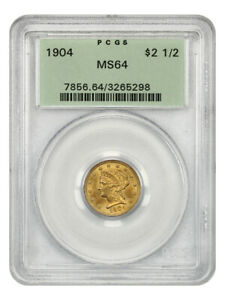 1904 $2 1/2 PCGS MS64 (OGH) Old Green Label Holder - 2.50 Liberty Gold Coin