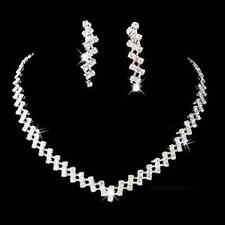 662dd45785 Silver Bridesmaid Crystal Necklace Earrings Set Wedding Bridal Jewelry  Jewellery