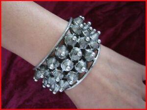 Big wide exaggerate retro tribal pure handmade Miao silver rivet bracelet 1piece