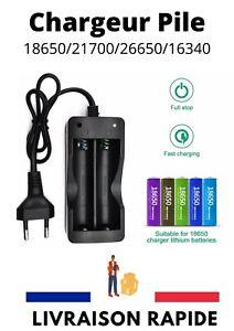 Double Chargeur Rapide Pour 3.7V 18650 21700 Pile Batterie Rechargeable Noir Ion