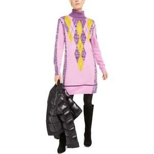 Escada Sport Womens Pink Wool Blend Turtleneck Argyle Sweaterdress L BHFO 7775