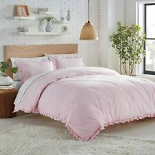 Nostalgia Home Lemon Tree Ruffle Embroidered Comforter Set Full/Queen Pink NWT