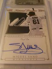 Miguel Sano 2015 National Treasures Silhouette Brand Logo Tag Auto Red 1/1 Twins