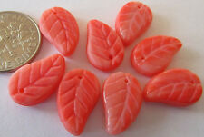 36 Czech Glass Coral Pink-Red Carved Leaf Beads 14mm x 10mm