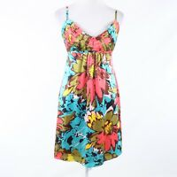 Turquoise blue pink floral print 100% silk ANTHROPOLOGIE BETH BOWLEY sun dress S