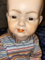"ANTIQUE K R H GERMANY 562-12 BISQUE REPRODUCTION BOY DOLL JOINTED 17"" GLASS EYES"