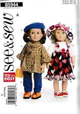 BUTTERICK SEWING PATTERN SEE & SEW 18 INCH DOLL CLOTHES ONE SIZE  #B5944