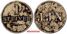 Curacao - J.J.N. (Naar) 1880's 1 Stuiver KM#Tn2 Token SCARCE TYPE (7145)