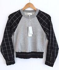 3.1 PHILLIP LIM Sweatshirt Top NEW W/ TAGS $375 Gray Knit Plaid Sleeves Size XS