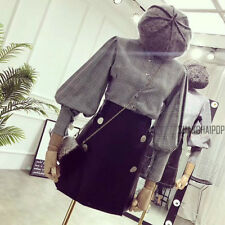 Women Ladies Puff Sleeve Shirt Vintage Retro Cotton Houndstooth Plaid Blouse Top