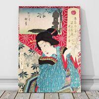 """Vintage Japanese Kabuki Art CANVAS PRINT 18x12"""" Geisha~ Kunichika #18"""