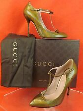 NIB GUCCI BRONZE CRACKED LEATHER KNOTTED BOWS T-STRAP BEVERLY PUMPS 37.5 7.5