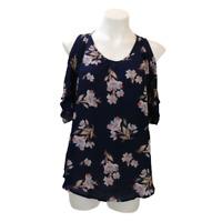 Sienna Sky Women Large Casual Floral Open Shoulder Top Blue Short Sleeve 07160