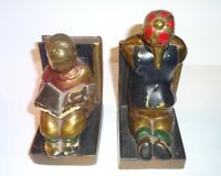 Vintage Ronson Bookends Polychome Metal Asian Children