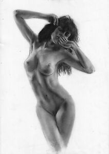 original drawing А3 32PY samovar Charcoal female nude Signed 2020