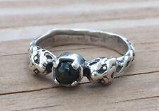 Lion Ring .925 Sterling Silver Sz 7.5 w/ Genuine Bloodstone Heliotrope gemstone
